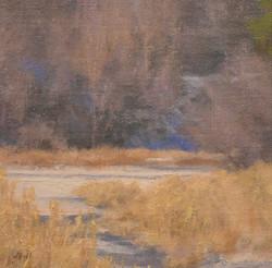 """Spring Creek Thaw""   6x6 oil"