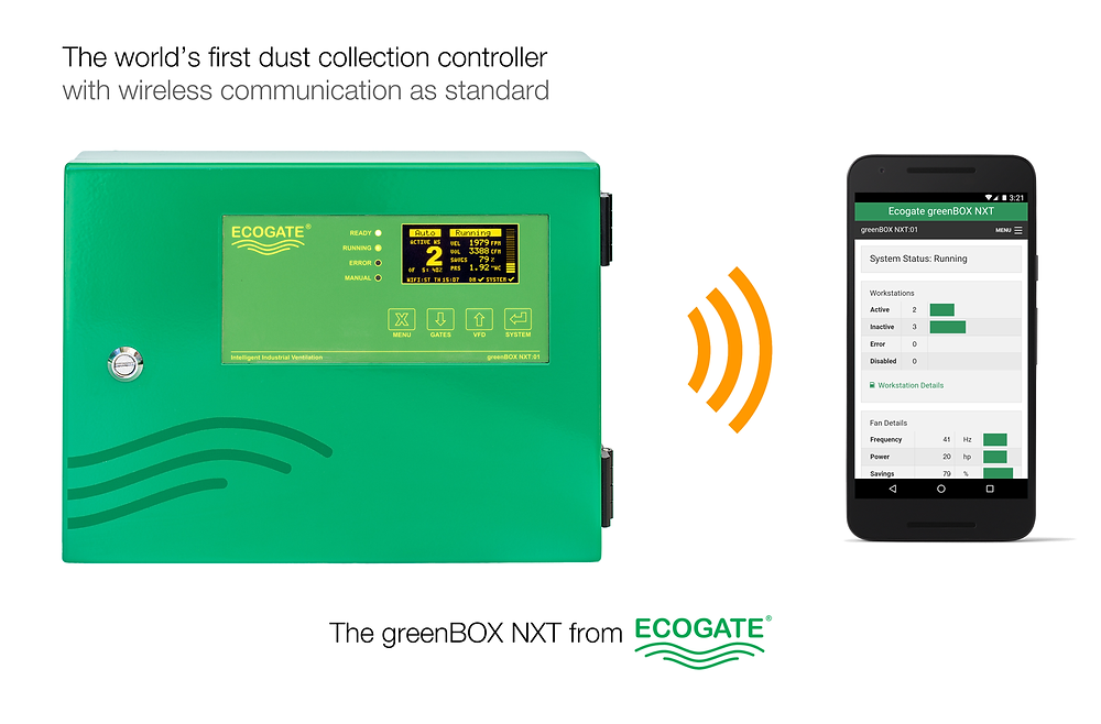 Ecogate greenBOX NXT: the world's first dust collection controller with wireless communication as standard.