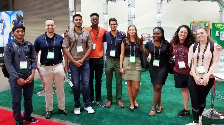Members of the Georgia Tech Industrial Assessment Center. From left to right: Shum, Kelly, Sai, Frank, Sinan, Rachel, Toffee, Sarah, and Mikaela. Photo courtesy of the Georgia – North Florida IAC.