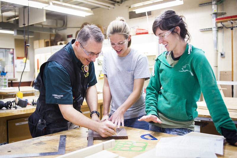 Madison Area Technical College Cabinetmaking and Millwork Program Director Patrick Molzahn with students.