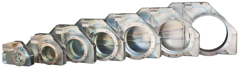 "Ecogate blast gates come in sizes from 4"" in diameter to 18"" in diameter."