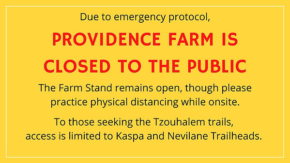 Providence Farm is Closed to the Public