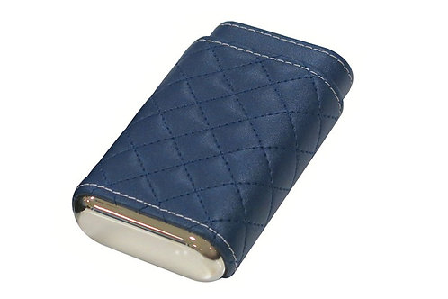 Diamond Stitch Cigar Case - Blue