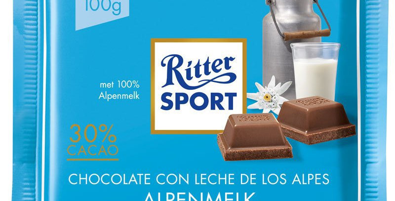 Ritter Sport Chocolate con Leche de los Alpes 100 gramos