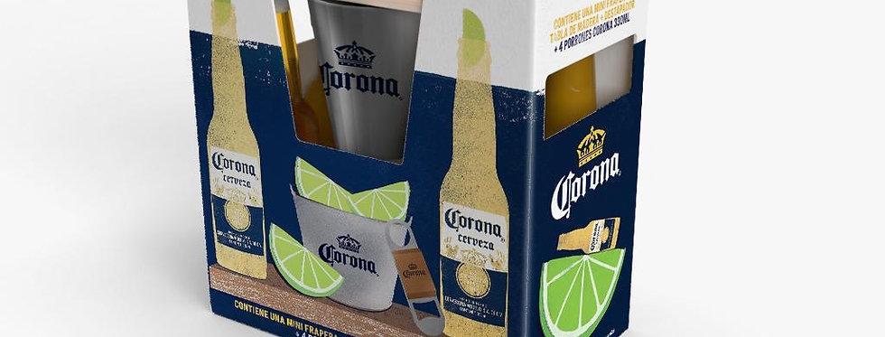 Corona Gift Pack 4 Porrones 330cc + Mini Frapera+ Tabla de Madera +Destapador