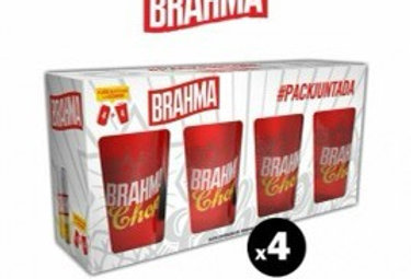Pack Juntada Brahma 4 Latas 473cc y 4 Vasos