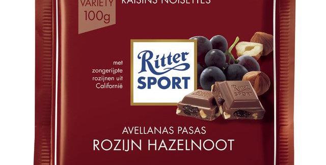 Ritter Sport Chocolate con Pasas y Avellanas 100 gramos