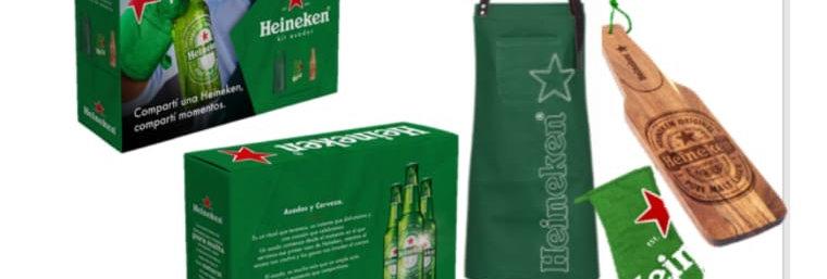 Gift Pack Heineken Delantal + Manopla + Tabla de Madera 47 x 11,5