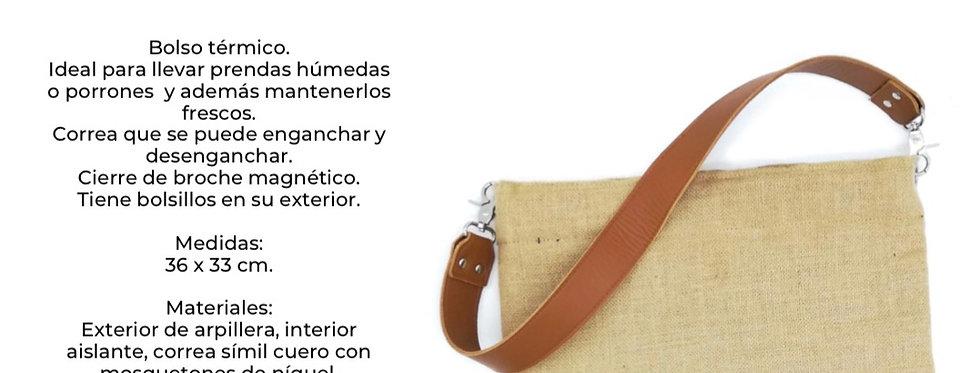 Bolso termico corona chico con broche magnetico y correa 36 x 33 cm