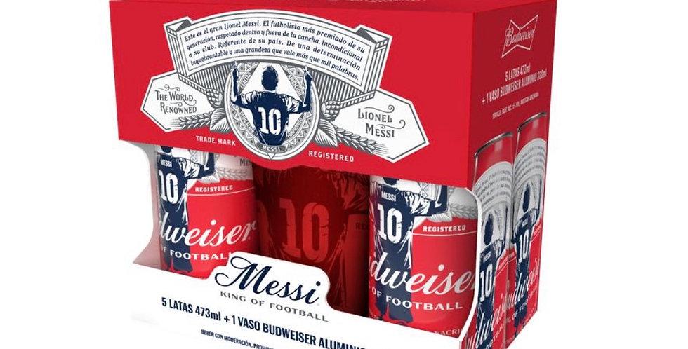Gift Pack Budweiser Messi Vaso Aluminio 330cc + 5 Latas 473cc