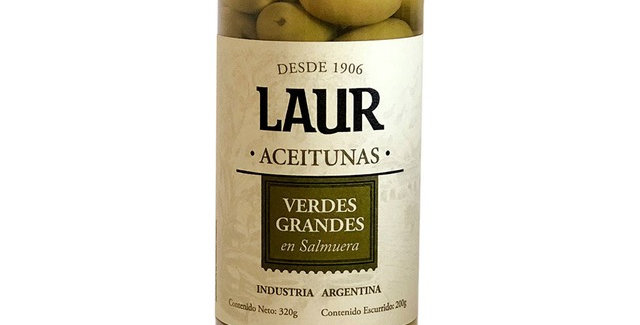 Aceitunas Verdes Grandes con Carozo 200 Gr. Laur