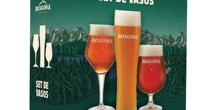 Gift Pack Patagonia 1 Vaso Recto 500cc, 1 Copa Sommelier 400cc y 1 Copa Tulipa 4