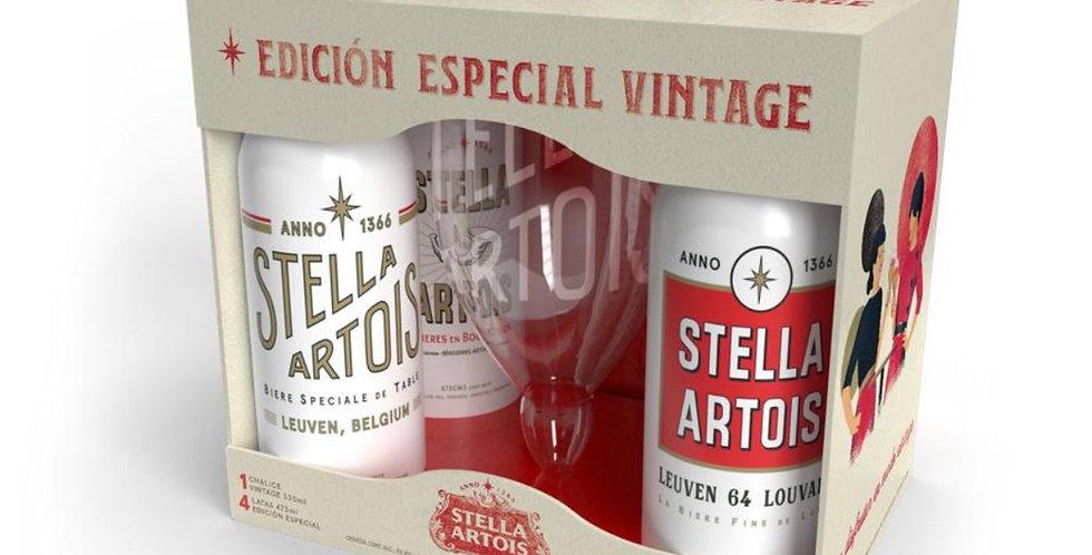 Gift Pack Stella Artois Vintage Copa 330cc + 4 Latas 473cc