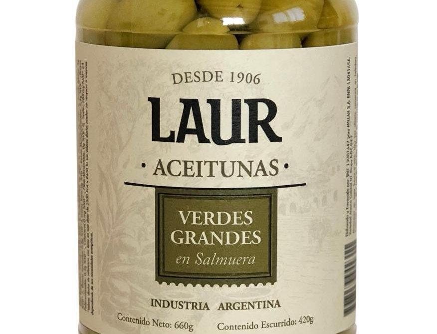 Aceitunas Verdes Grandes con Carozo 420 Gr. Laur