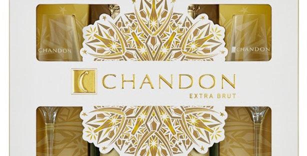 Chandon Extra Brut 750cc Estuche x 2 unidades + 2 Copas