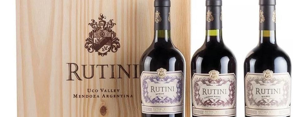 Rutini Estuche Madera x 3 Unidades (Cabernet Malbec, Merlot y Malbec de 750cc)
