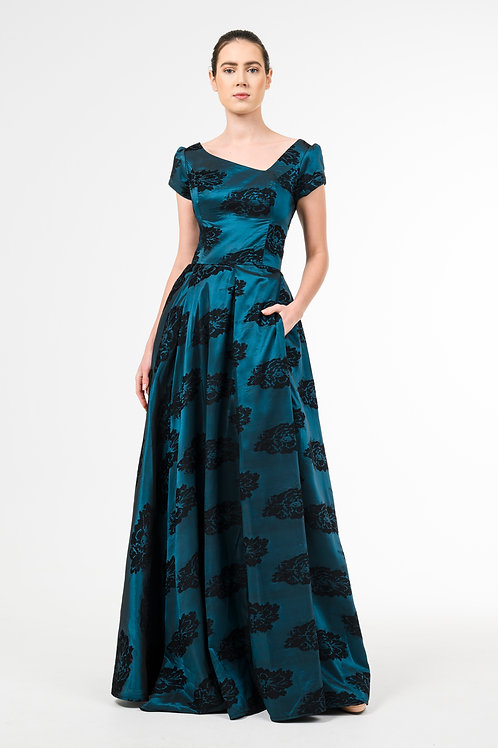 Long flowing silk/velvet brocade dress with asymmetric v neckline