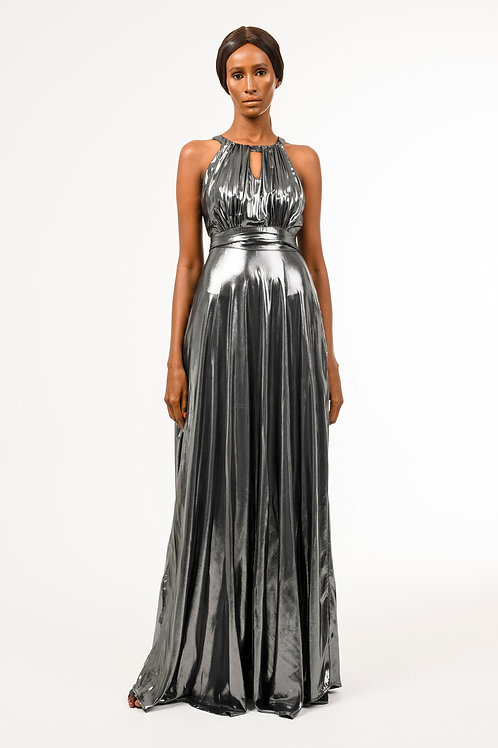 Florentine gray metallic chiffon A-Line dress