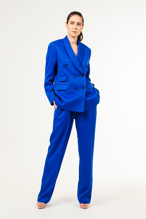 Two Pieces Royal Blue Oversized Double- Breasted Blazer