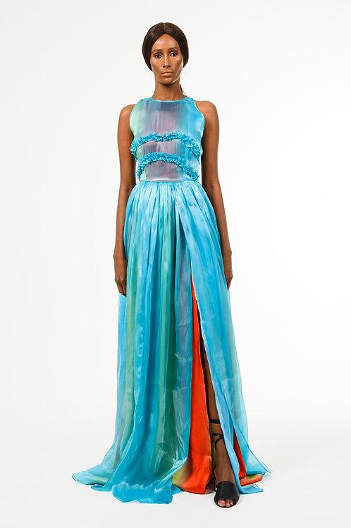 Aqua turquoise sleeveless halter style neckline dress