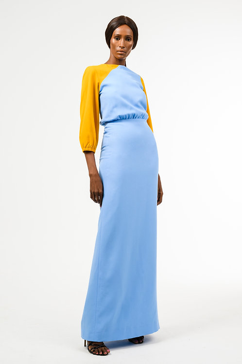 Sky blue and mustard color flattering crepe dress