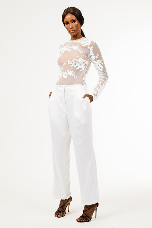 Ivory white floral print stretch mesh lace top, white ankle length turn up pants