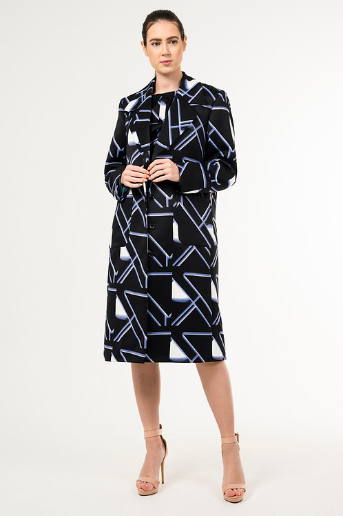 Vintage trench coat with asymmetric print and vale lapel
