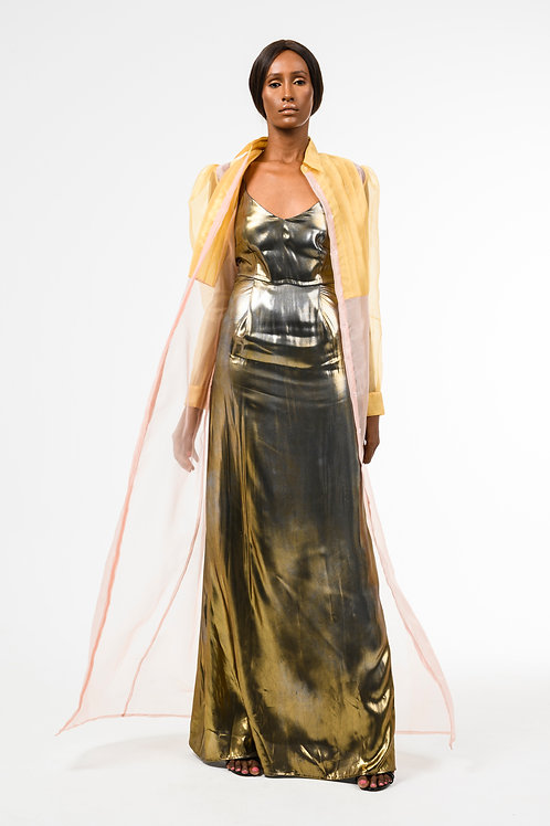 Gold and Peach Long Sleeve Sheer Organza Shirt Dress