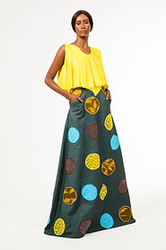 A-line  teal green circling earth embroidered Africa patch fabric on denim skirt