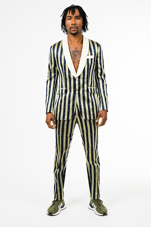 Gold and blue stripped silk single-breasted two-piece suit
