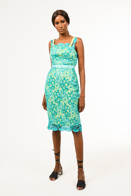 Short Spaghetti strap embroidered/sequined teal lace dress