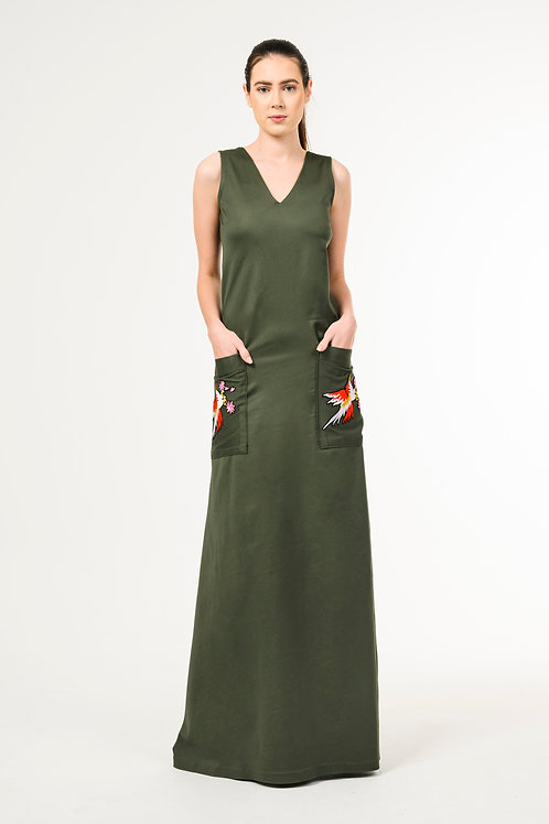 Long army green overall stretchy denim dress