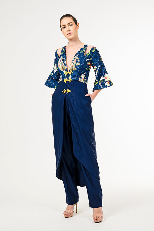 Post-Imperial Taffita Silk Pant Dress
