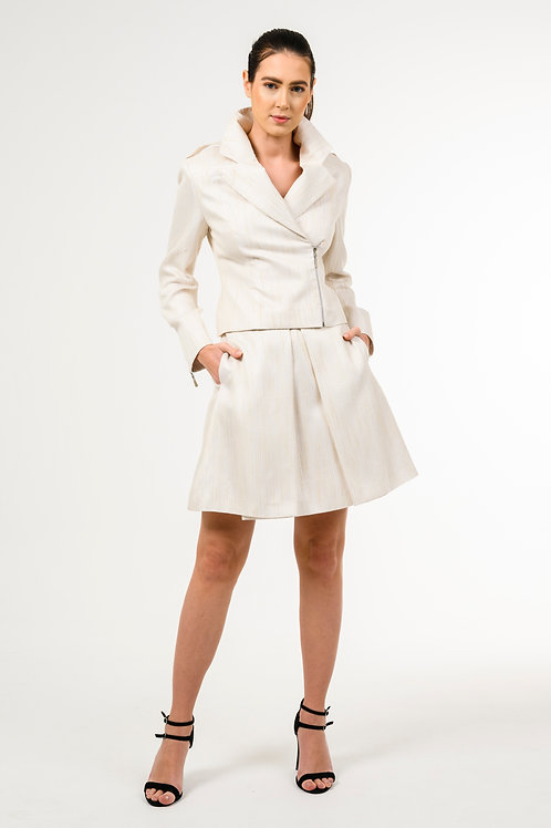 Jacket with a high waist A-line skirt with pocket