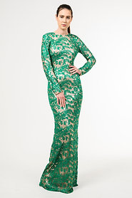 Green French embroidered lace dress, with platinum lycra undergarment