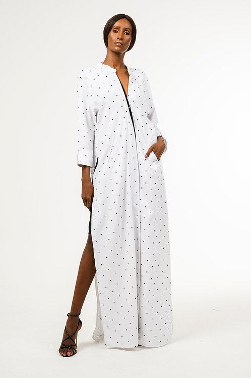 Long Polka dot crepe robe dress with black chiffon merge