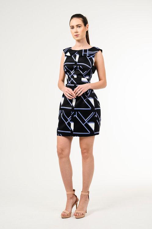 Asymmetric boat-neck sleeveless dress