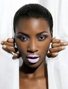 Pink Lipstick on Dark Skin Model