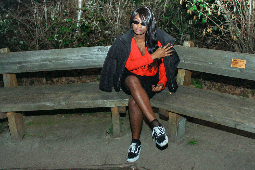 Fashion Blogger on a bench