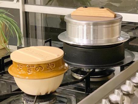峠の釜飯おぎのやのお釜でご飯を炊きました。