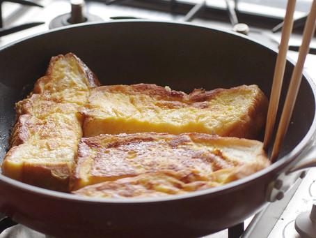 鋳物フライパンでフレンチトーストを作りました。
