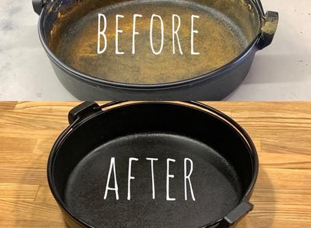 南部鉄器のすき焼き鍋さび落とし