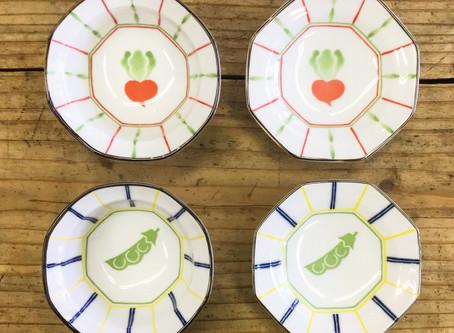 かぶとエンドウ豆柄の小皿、小鉢