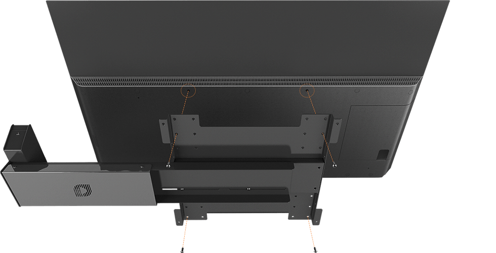 MyTV can be easily mounted to the back of any TV using existing VESA mount.