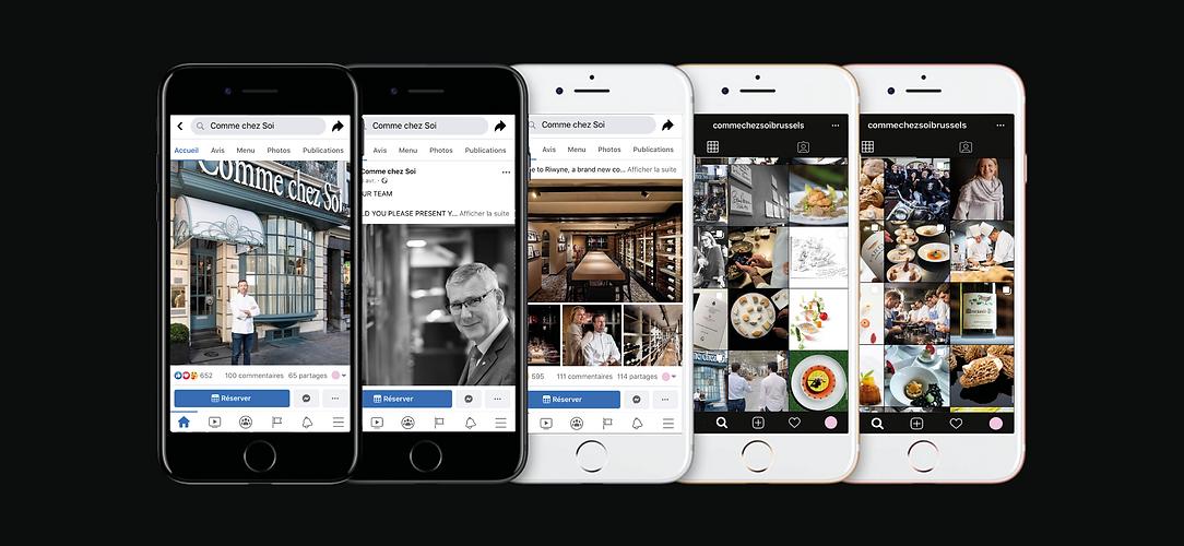 Comme chez Soi étoilé gault millau restaurant bruxelles agence communication marketing graphisme réseaux sociaux digital