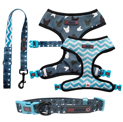 Blue La-La - Reversible Harness, Collar & Leash Set