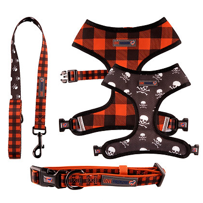 Don't Cross Me - Reversible Harness, Collar & Leash Set