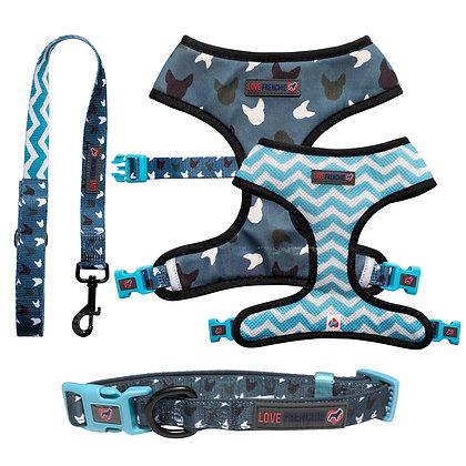 Blue La-La - Reversible Harness, Collar & Leash Set