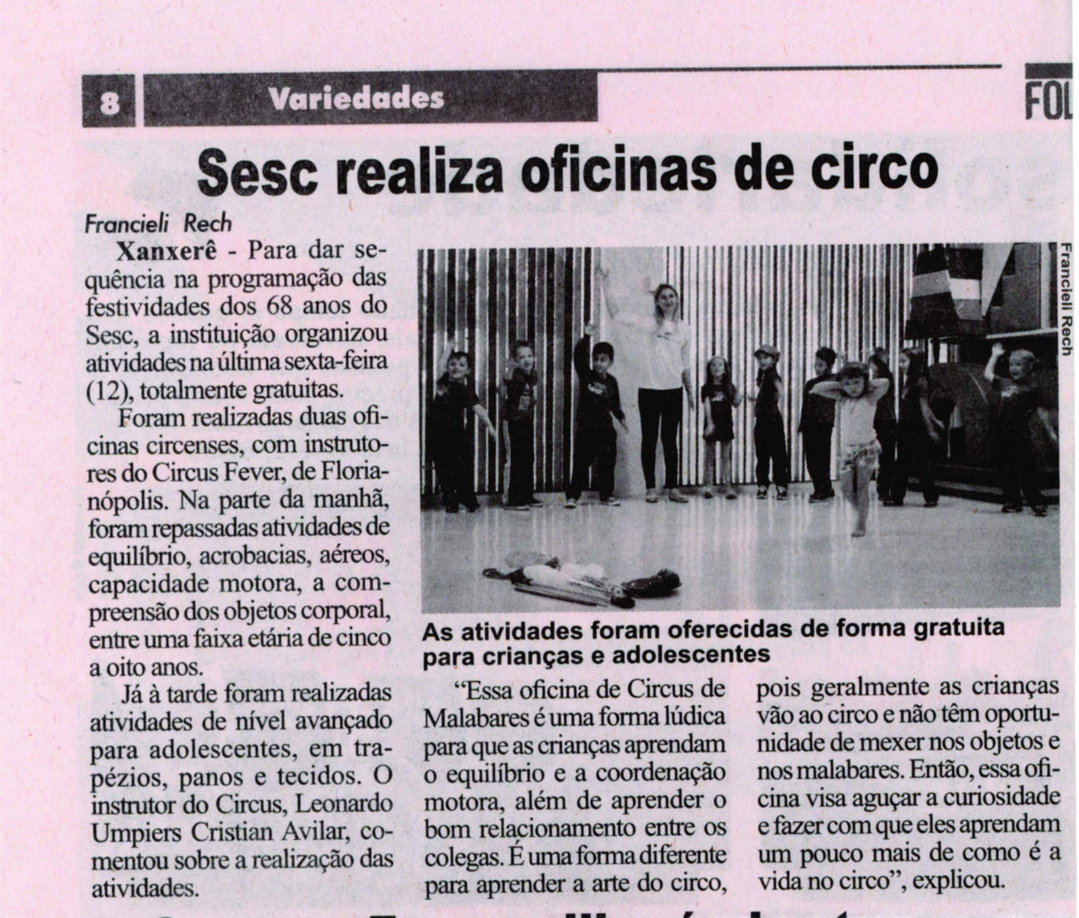 Oficina de Circo SESC Xanxerê
