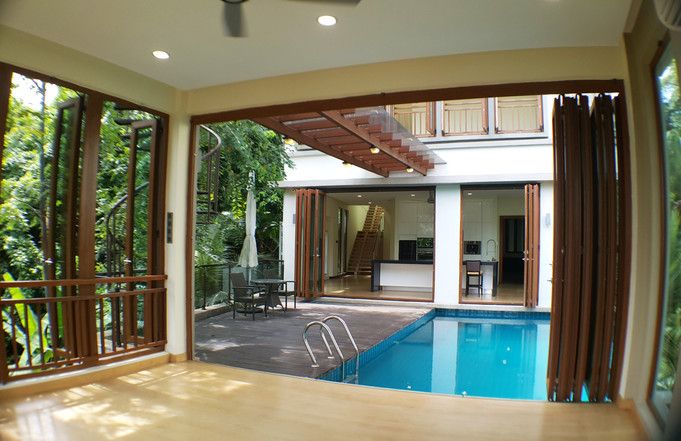 View of Dry Kitchen, Pool & Deck from Di
